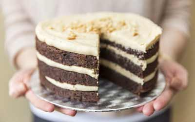 CHOCOLATE LAYER CAKE WITH PEANUT BUTTER BUTTERCREAM