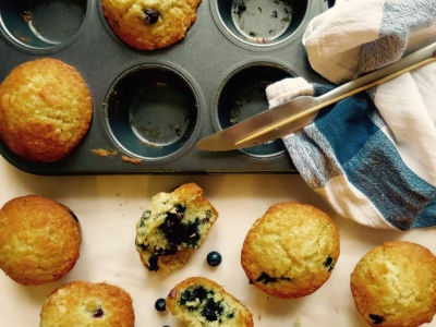 Cafe Style Blueberry Lemon Muffins